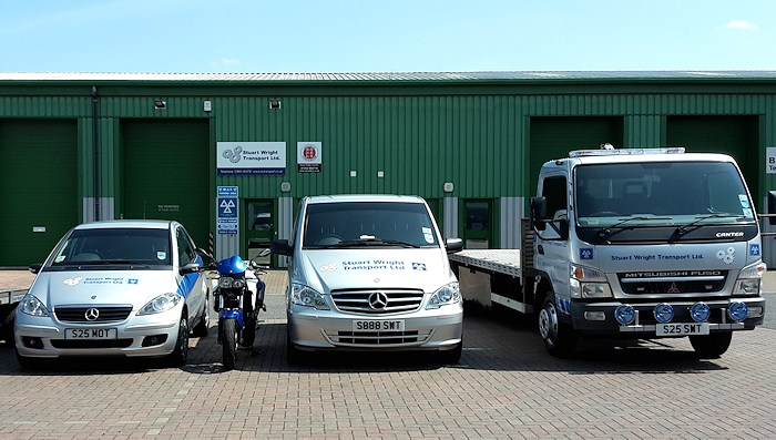 Front view of Stuart Wright Transport's MOT test station in Wymondham